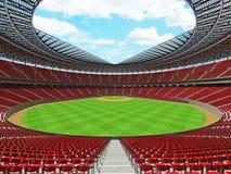 3D rinden de estadio de béisbol con los asientos rojos y las cajas del VIP Fotos de archivo libres de regalías