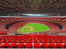 3D rinden de estadio de béisbol con los asientos rojos y las cajas del VIP Imágenes de archivo libres de regalías