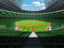 3D rinden de estadio de béisbol con los asientos verdes y las cajas del VIP Fotos de archivo libres de regalías