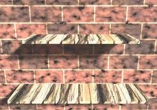 3D rinden de estantes de madera en la pared de ladrillo ilustración del vector