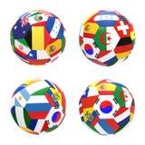 3D rinden de fútbol con las banderas Fotografía de archivo libre de regalías