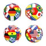 3D rinden de fútbol con las banderas Fotos de archivo libres de regalías