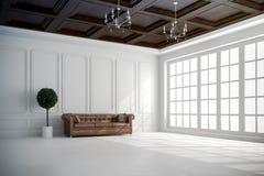 3d rinden de interior hermoso con las paredes blancas y el techo de madera libre illustration
