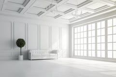 3d rinden de interior hermoso con las paredes blancas y la disposición del techo ilustración del vector