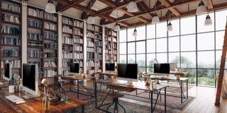 3d rinden de interior industrial hermoso del estilo stock de ilustración