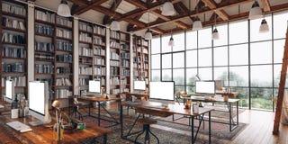 3d rinden de interior industrial hermoso del estilo Imágenes de archivo libres de regalías