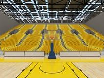 3D rinden de la arena de deporte hermosa para el baloncesto con los asientos amarillos Imagenes de archivo
