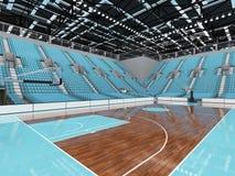 3D rinden de la arena deportiva moderna hermosa para el baloncesto con los asientos del azul de cielo Imagen de archivo