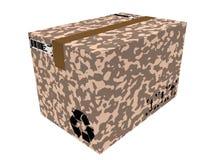 3d rinden de la caja militar aislada de la entrega en el fondo blanco Fotografía de archivo
