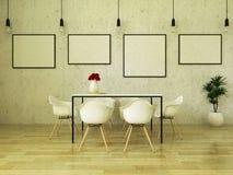 3D rinden de la mesa de comedor hermosa con las sillas blancas Fotos de archivo