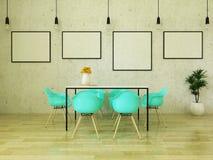 3D rinden de la mesa de comedor hermosa con las sillas de la turquesa Fotos de archivo libres de regalías