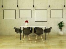 3D rinden de la mesa de comedor hermosa con las sillas negras Fotografía de archivo libre de regalías