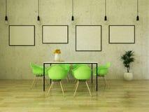 3D rinden de la mesa de comedor hermosa con las sillas verdes claras Fotos de archivo