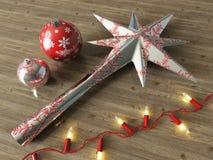 3d rinden de las chucherías de plata de la estrella de la decoración y de la decoración de la Navidad con las luces rojas en un f Fotografía de archivo