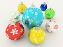 3D rinden de las chucherías multicoloras de la decoración del día de fiesta Foto de archivo libre de regalías