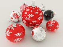 3D rinden de las chucherías rojas, blancos y negros de la decoración del día de fiesta Imágenes de archivo libres de regalías