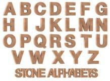 3D rinden de los alfabetos de piedra Fotografía de archivo