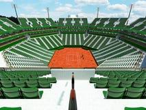 3D rinden de los asientos modernos hermosos del verde del estadio de la corte de arcilla del tenis para quince mil fans Foto de archivo libre de regalías