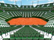 3D rinden de los asientos modernos hermosos del verde del estadio de la corte de arcilla del tenis para quince mil fans Imagenes de archivo
