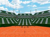 3D rinden de los asientos modernos hermosos del verde del estadio de la corte de arcilla del tenis para quince mil fans Imágenes de archivo libres de regalías