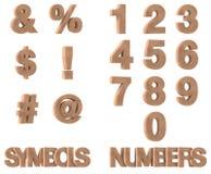 3D rinden de los símbolos y de los números de piedra Fotografía de archivo