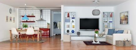 3d rinden de moderno, lujoso, loft brillantemente el apartamento Foto de archivo libre de regalías