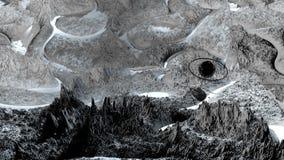 3d rinden de paisaje cósmico como fondo o ambiente El planeta de la opinión del espacio de la nave espacial muy detalló stock de ilustración