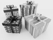 3D rinden de presentes envueltos blancos y negros de un día de fiesta con la costilla Imagen de archivo libre de regalías