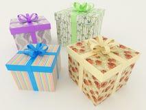 3D rinden de presentes envueltos multicolores de un día de fiesta con las cintas Imagenes de archivo