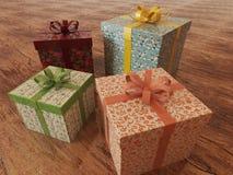 3D rinden de presentes envueltos multicolores de un día de fiesta con las cintas Fotografía de archivo libre de regalías