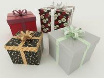 3D rinden de presentes envueltos multicolores de un día de fiesta con las cintas Foto de archivo libre de regalías