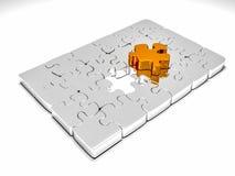 3d rinden de rompecabezas metálico con un pedazo de oro outstending Imagenes de archivo