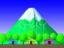 3d rinden de suburbano con la central eléctrica de energía eólica Imagen de archivo