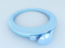 3D rinden de un anillo de diamante azul Imagen de archivo