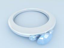 3D rinden de un anillo de diamante de plata Imagen de archivo libre de regalías