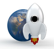 3D rinden de un cohete blanco simbólico con las llamas Fotografía de archivo libre de regalías