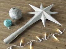 3d rinden de un 3d rinden de una decoración helada de la estrella y de la Navidad de las bolas con las luces blancas Foto de archivo
