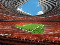 3D rinden de un estadio de fútbol redondo con los asientos anaranjados Fotos de archivo libres de regalías