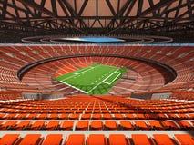 3D rinden de un estadio de fútbol redondo con los asientos anaranjados Fotografía de archivo libre de regalías