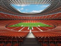3D rinden de un estadio de fútbol redondo con los asientos anaranjados Imagen de archivo