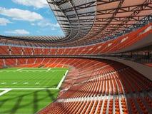 3D rinden de un estadio de fútbol redondo con los asientos anaranjados Imagen de archivo libre de regalías
