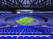 3D rinden de un estadio de fútbol redondo con los asientos azules para cientos mil fans Imágenes de archivo libres de regalías