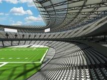 3D rinden de un estadio de fútbol redondo con los asientos blancos para cientos mil fans Imágenes de archivo libres de regalías