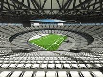 3D rinden de un estadio de fútbol redondo con los asientos blancos para el hundr Imagen de archivo libre de regalías
