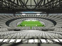 3D rinden de un estadio de fútbol redondo con los asientos blancos para el hundr Imagen de archivo