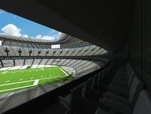 3D rinden de un estadio de fútbol redondo con los asientos blancos para el hundr Imágenes de archivo libres de regalías