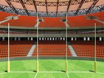 3D rinden de un estadio de fútbol redondo de las reglas del australiano con las sillas anaranjadas ilustración del vector