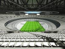 3D rinden de un estadio redondo del rugbi con los asientos blancos y las cajas del VIP Foto de archivo libre de regalías