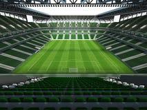 3D rinden de un fútbol de la capacidad grande - estadio de fútbol con un tejado abierto y asientos verdes Imagenes de archivo