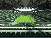 3D rinden de un fútbol de la capacidad grande - estadio de fútbol con un tejado abierto y asientos verdes Fotografía de archivo libre de regalías